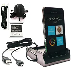 FLASH SUPERSTORE ULTIMATE POWER PACK FOR SAMSUNG I9001 GALAXY S PLUS INCLUDES COMPATIBLE CHROME TWIN DESKTOP DOCKING STATION CRADLE CHARGER ( HANDSET AND SPARE BATTERY CAN BE CHARGED AT THE SAME TIME ) + ORIGINAL MICRO USB 3 PIN MAINS CHARGER + ORIGINAL MICRO USB DATA AND CHARGE CABLE + COMPATIBLE SPARE 1800 mAh BATTERY
