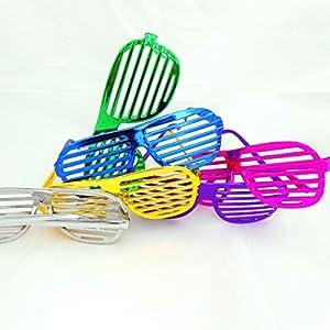 Party Brille Gitterbrille Shutter Shades Metallic Style JGA Junggesellenabschied