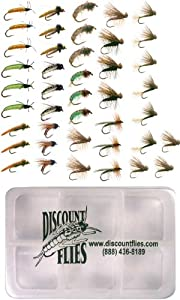 Caddis Trout Fly Fishing Flies Collection 42 Flies + Fly Box