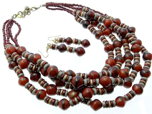 NECKLACE AND EARRING SET WOODEN COCO&BURI BEAD RED Fashion Jewelry Costume Jewelry fashion accessory Beautiful Charms