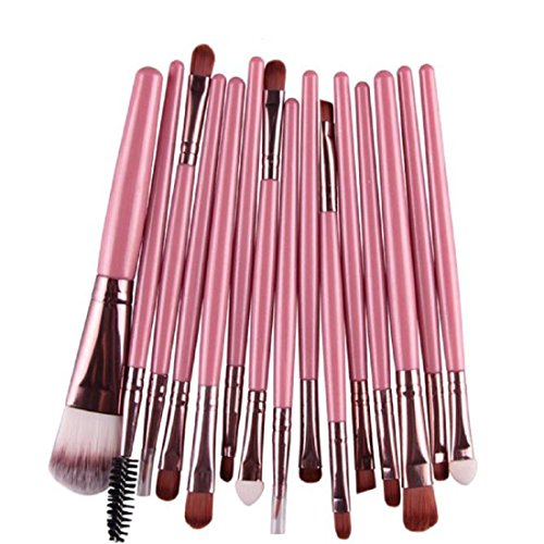 Makeup Brush,Canserin 15 pcs/Sets Eye Shadow Foundation Eyebrow Lip Brush Makeup Brushes Tool (Pink )