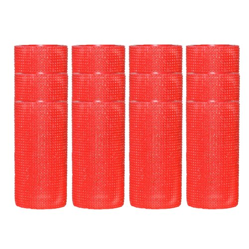 Dfl 3X6 Inch Flameless Real Wax Led Pillar Candle With Timer-Embossed Red Space Lattice,Set Of 12
