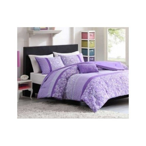 Twin Xl Purple Polka Dot Paisly Floral Comforter Set Girls Teen Dorm Bedding Set