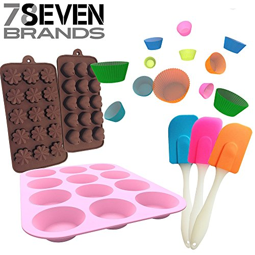 78Seven Bakeware Silicone Kitchen BUNDLE Set. 12 Slot Pink Muffin Pan-12 Cupcake Holders- 2 Character Molds, Hearts and Flowers, and a FREE mini Spatula SET!