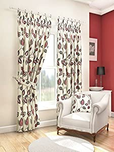 "Modern Fresh Red Cream Floral Leaf Curtains Lined Pencil Pleat 90"" X 90"" #asor by PCJ SUPPLIES"