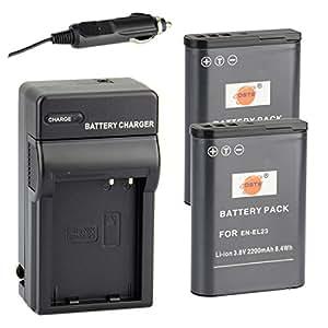DSTE® アクセサリーキット Nikon EN-EL23 互換 カメラ バッテリー 2個+充電器キット対応機種 Coolpix P600 P610 S810C P900 P900S