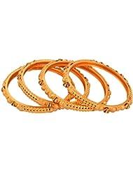 Handicraft Kottage Gold Metal Bangle Set For Women - Set Of 4 (HK-ABGM-3214)
