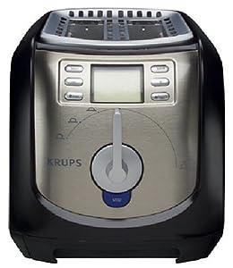 Krups FEM3B 2-Slice Digital Toaster, Black and Stainless Steel