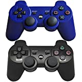 Findway Wireless Bluetooth Controllers for Sony PlayStation 3 PS3 Double Shock (1 Black & 1 Blue)