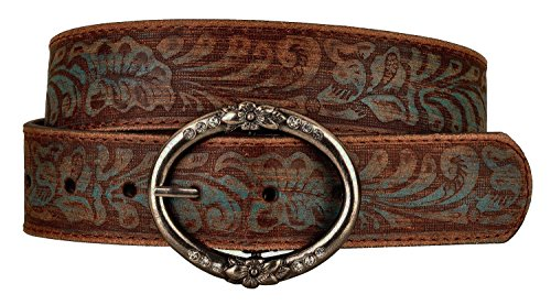 Distress Embossed Brown and Teal Leather Belt with Rhinestone Ring Buckle (M)