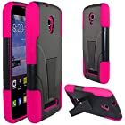Alcatel One Touch Pop star LTE Case, Starshop Straight Talk Alcatel One Touch Pop star LTE A845L Prepaid Smartphone Premium Durable Rugged Shell Hybrid Protective Phone Case Cover with Built in Kickstand Pink