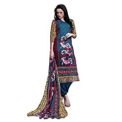 Desi By Design Blue Embroidered Pashmina Salwar Kameez Suit Dress Material with Pashmina Shawl / Stole