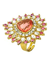 Pink Tourmaline Simulated White Color Cz Gold Plated Rings Jewelry