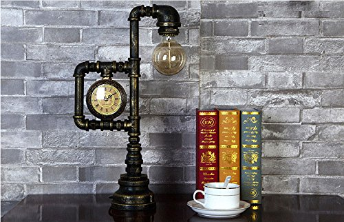 Injuicy Lighting Vintage Industrial Water Pipe Table Light Edison Desk Accent Lamp With Clock Bar 5