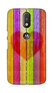 Amez designer printed 3d premium high quality back case cover for Motorola Moto G4 Plus (Multicolored wooden planks with a heart)