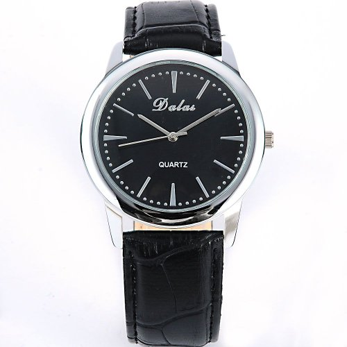 AMPM24 Fashion Women Lady Mens Black Leather Sport Quartz Wrist Watch