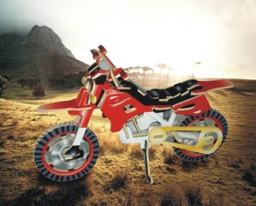 Puzzled Colorful Wood Craft Construction Dirt Bike 3D Jigsaw Puzzle