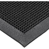 "NoTrax T28 SBR Rubber Finger Scrape Entrance Mat, for Wet and Dry Areas, 24"" Width x 32"" Length x 3/8"" Thickness, Black"