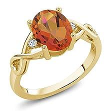 buy 1.85 Ct Twilight Orange Mystic Quartz White Topaz 18K Yellow Gold Plated Silver Ring