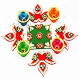 Ghasitaram Acrylic Round Rangoli with Diyas,Multi-Colour