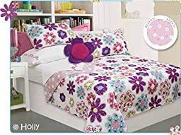 Bedding For Girls, Reversible Colorful Quilts for Girls Set in a Bag, Choice of TWIN or FULL, Colorful Flowers Theme (TWIN)