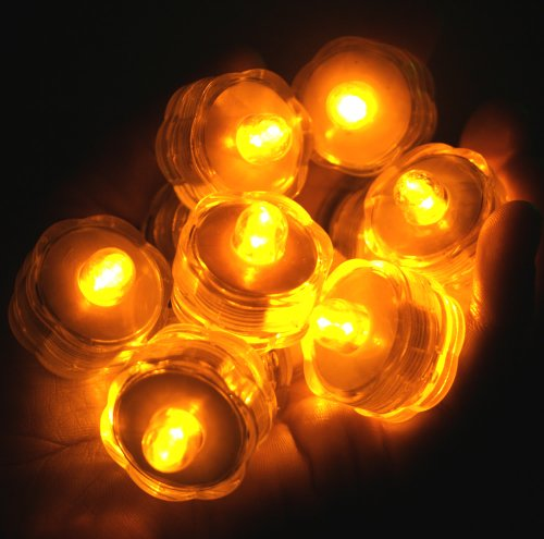 Bluedot Trading Submersible Tea Lights, Amber, 24-Pack
