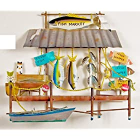 Coastal Wall Sculpture - Island Fish Market - Metal Wall Sculpture