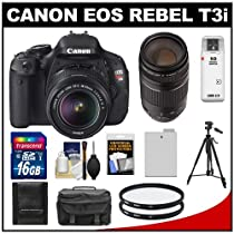 Canon EOS Rebel T3i 18.0 MP Digital SLR Camera Body & EF-S 18-55mm IS II Lens with 75-300mm III Lens + 16GB Card + Battery + Case + (2) Filters + Tripod + Cleaning Kit