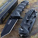 Tac-Force Black TANTO BLADE Spring Assisted Tactical Folding Pocket Knife (Color: black)