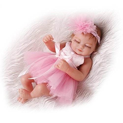 DreamRunner 10inches Full Vinyl Real Mini silicone Baby Dolls Full Body Delicate lovely Pink skirt bath doll