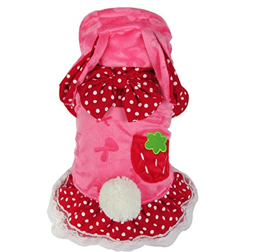 [PET CONDO Pet Cat Dog Clothes Strawberry Bunny Rabbit Velet Skirt Dress Small Dog Costume Pink S] (Cat In Bunny Costume)