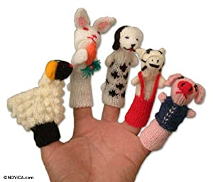 Wool finger puppets, 'Playful Farm Animals' by NOVICA
