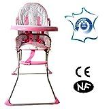 CHAISE HAUTE POUR BEBE ET ENFANTS DE 6 A 36 MOIS PLIABLE ROSE (ou bleue)