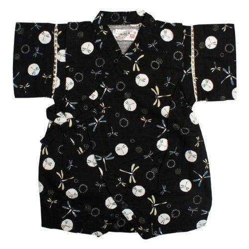 甚平 ロンパース ベビー 男の子 綿100% 日本製生地 トンボ 和柄 じんべい ロンパース 甚平 ブラック 70cm