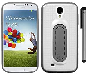 Samsung Galaxy S4 IV i9500 Snap Tail Hybrid Stand Cover Case with ApexGears Stylus Pen (White/Gray)