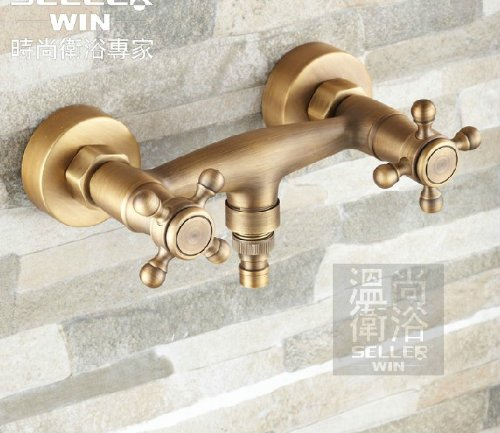 Antique Brass Wall Mount Washing Machine Faucet Dual Handles Sink Mixer Tap front-632776