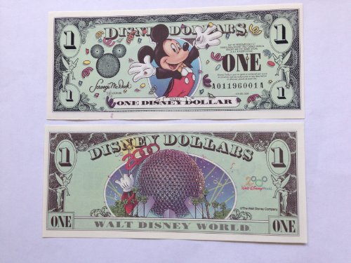 Disney Dollars 2000 Mickey $1 Bill (Disneyland)