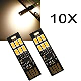 10X1W 50LM Warm White Touch Switch USB Mobile Power Camping LED Light Lamp