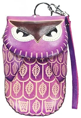 Purple Owl - Leather Handmade Craft Animal Wristlet Coin Change Purse Pouch