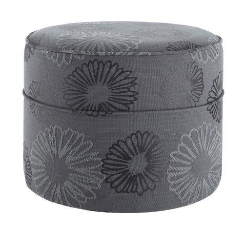 Wells Pouffe/Foot Stool In Modern 'Daisy' Fabric. BLACK.