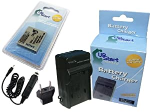 Pentax Optio S7 Battery and Charger with Car Plug and EU Adapter - Replacement for Pentax D-LI8 Digital Camera Batteries and Chargers (750mAh, 3.7V, Lithium-Ion)