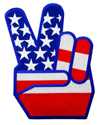 Large USA Peace Fingers Embroidered Patch 1960s Reproduction V Victory Sign Iron-On Anti-War Symbol