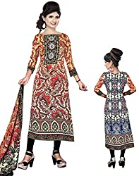 BalajiWomen's Crepe Unstitched dress material(2006-multicolor-free size)