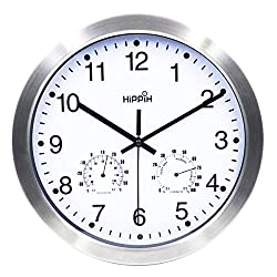 Hippih 12 Inch Silent Non-ticking Wall Clock- Metal Frame Glass Cover