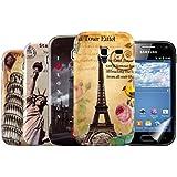 kwmobile® 5in1 Set: 4x Hardcase Stadt Design für Samsung Galaxy Ace 2 i8160 in Paris, Pisa etc. + Folie, KRISTALLKLAR
