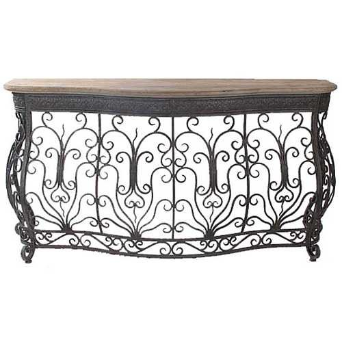 Cheap Aged Iron and Wood Scroll Console Table (B008M1375Y)