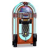 Auna Graceland Jukebox style ancien en bois avec port USB et lecteur de carte SD, AUX, lecteur CD MP3, radio FM, éclairage à LED et télécommande taille XXL...