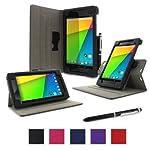 rooCASE Google Nexus 7 FHD 2nd Gen Tablet Dual-View Folio Case Cover - Black (with Pen Stylus) Nexus 7 2 2013 Model