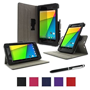 rooCASE Google Nexus 7 2013 FHD Case - (2nd Gen 2013 Model) Dual-View Multi-angle Stand Cover - BLACK (With Auto Wake / Sleep Cover)