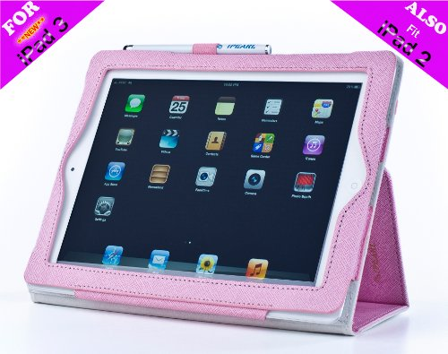 iPearl Leather Folio Case with Stylus for iPad 2 & 3 (Pink)